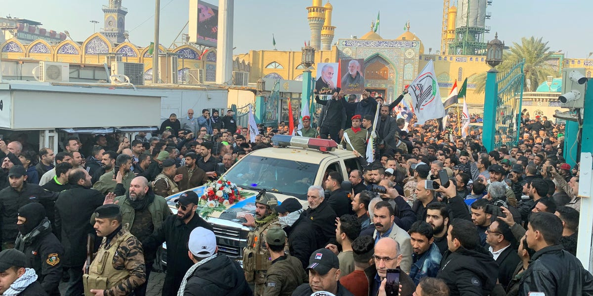Thousands of mourners gather for the funeral of Qassem Soleimani
