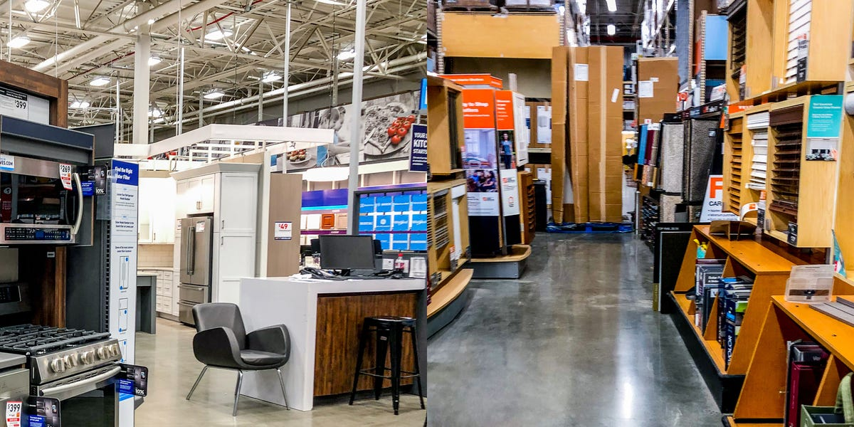 Photos comparing Lowe's and Home Depot show why Lowe's is better