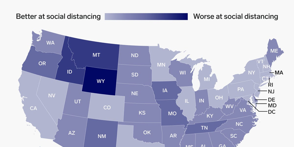 Coronavirus in the US: How much states are really social distancing