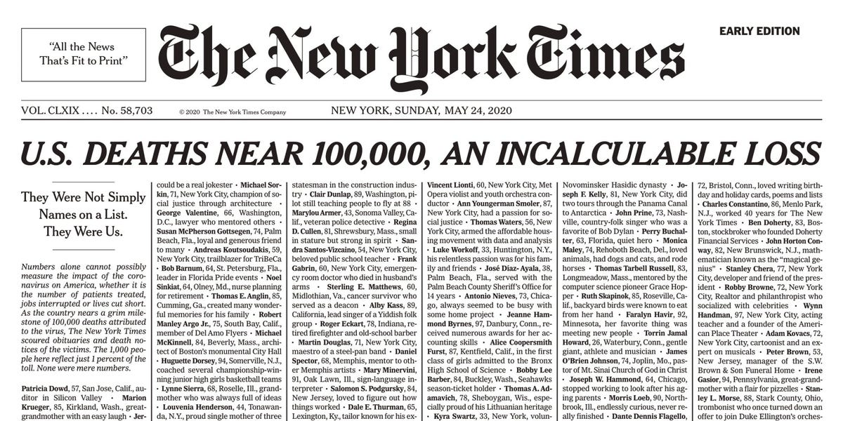 A somber New York Times front page lists 1,000 coronavirus deaths