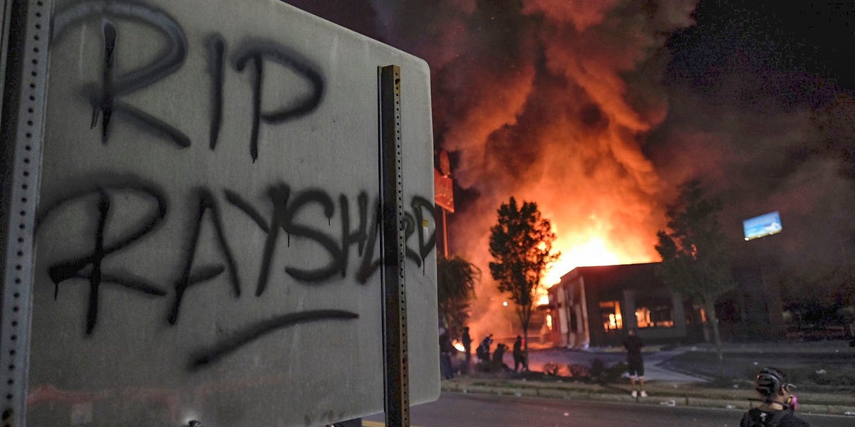 Atlanta protesters set a Wendy's on fire after police fatally shot a Black man at the drive-thru