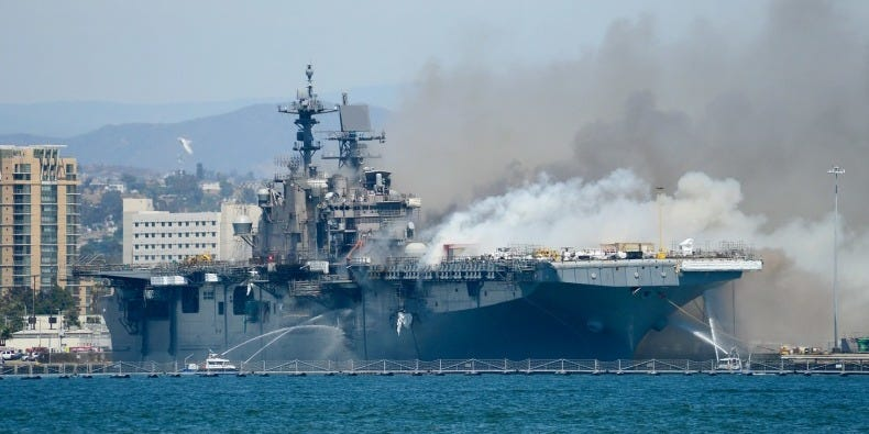 Over 400 US Navy sailors fighting USS Bonhomme Richard fire